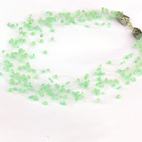 Mint Green Necklace. Multistrand Necklace. Beaded Handmade Jewelry. Beadwork.