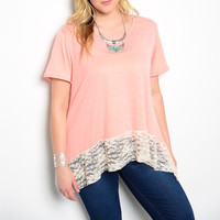 Plus Size Lace Hem Tee in Peach & White
