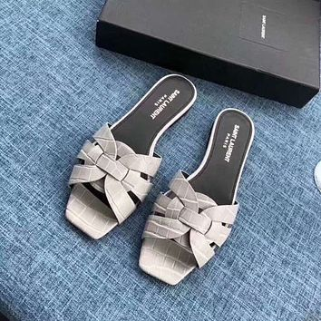 ysl women casual shoes boots fashionable casual leather women heels sandal shoes 97
