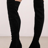 Kristy Faux Suede Over The Knee Boots