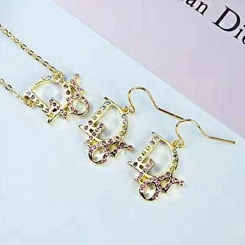 DIOR Fashion Women Delicate Diamond Pendant Stud Earrings Necklace Set Two Piece Accessories Jewelry