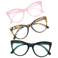 Betsey Johnson 3 Pairs Reading Glasses Black Pink Leopard Readers +1.50