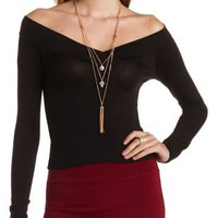 Long Sleeve V-Neck Tee by Charlotte Russe