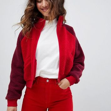 Monki Colour Block Teddy Bomber Jacket at asos.com