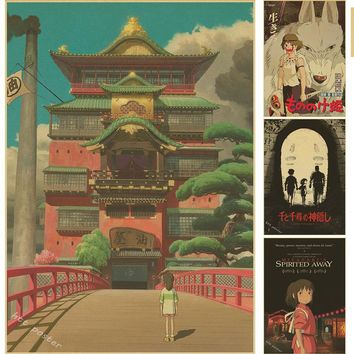 Vintage Cartoon Anime Hayao Miyazaki Totoro Spirited Away Poster Cafe Kid Home Decor Retro Kraft Paper Wall Sticker