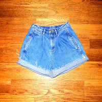 Vintage Denim Cut Offs - 90s Stone Washed Denim Jean Shorts - High Waisted Cut Off/Frayed/Rolled Up Shorts by Liz Claiborne - Size 0/00