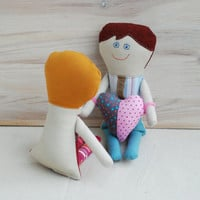 Handmade Dolls, Gift for Lovers, Valentine's Day Gift, Family Dolls, Stuffed Dolls with Heart, Textile Cloth Dolls, Retro Cute Soft Dolls
