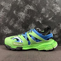 Balenciaga Track Trainers In Green And Blue Mesh And Nylon Sneakers