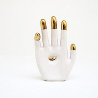 All Seeing Eye Hand Amulet - contemporary ceramic hamsa with gold dipped fingers