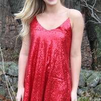 Ring in the New Year Sequined Dress - Red