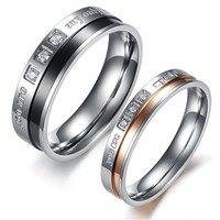 "Fashion Jewelry "" You Are My Only Love "" AAA High Quality CZ Titanium Stainless Steel Couple Ring DP 0613"