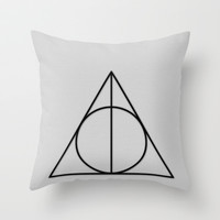 HARRY POTTER DEATHLY HALLOWS Throw Pillow by Tanner Wheat