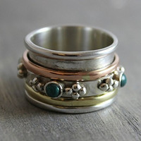 Sterling Silver (925) Turquoise Brass Copper Bohemian Spinning Fidget Ring, Size 6