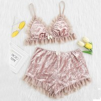 Ashton Crushed Velvet Bralette / Shorts Set