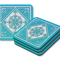 Snowflake Coasters Set in aqua and ice blue two tone, cork back, set of four coasters, Christmas decor