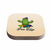 "Noonday Design ""Free Hugs Cactus"" Green Pastel Coasters (Set of 4)"