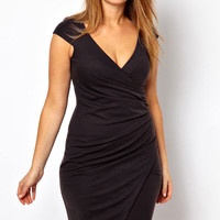 Plus Size Black Ruched Wrap Midi Dress  #MN404484