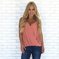 Sweetheart Wrap Blouse in Coral