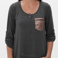 BKE Red Slub Fabric Henley Top