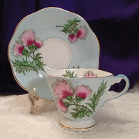 Foley Glengarry Thistle Blue Teacup, Saucer 2538, Hand Painted Bone China, Octagonal Rim, Footed Teacup, Pastel Blue and Pink 1948-1963