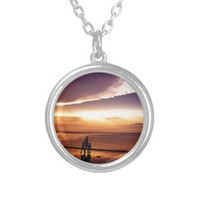 sunset 2 silver plated necklace