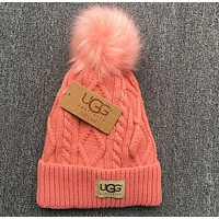 UGG Autumn Winter Warm Trending Women Men With Small Ball Wool Thick Knit Hat Cap(6-Color) Pink