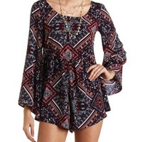 Flowy Scarf Print Bell Sleeve Romper by Charlotte Russe - Navy Combo