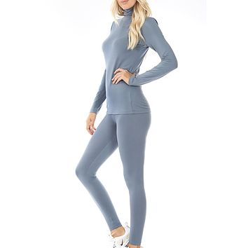 Ultra Soft Mock Neck Long Sleeve Top  and Ankle Length Legging Set