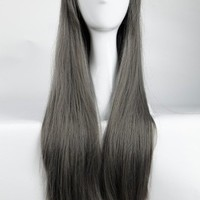 """S-noilite 32"""" Long Full Head Dark Gray Side Bang Wig Anime Cosplay/Costume Party Fancy Dress Select for American Lady"""