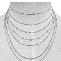 """13.50"""" crystal multi layered chain choker necklace .25"""" earrings"""