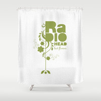 "Radiohead ""Last flowers"" Song / Green version Shower Curtain by LilaVert"