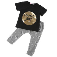 2 Piece Set Mama's Boy Trendy Baby kids clothing tee t-shirt and pants outfit 0-24