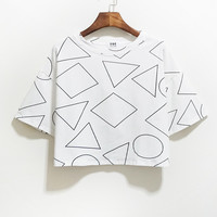 White Geometry Patterned Wide Short Sleeve Shirt