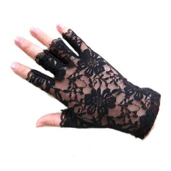 New Women Lady Exquisite Goth Party Sexy Dressy Lace Gloves Mittens Fingerless Black White ERO = 1958046340