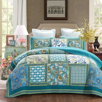 DaDa Bedding Greek Mediterranean Fountain Bohemian Cotton Patchwork Bedspread Set (JHW-603)