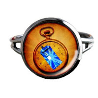 Dr Who Inspired Tardis Ring - Tardis In Watch - Public Police Box Jewelry - Geeky Whovian