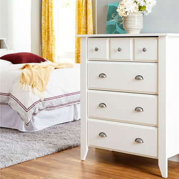 White 4-Drawer Chest Bedroom Wardrobe with Antique Nickle Handles