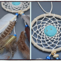 Turquoise Car Dream catcher, Rear View Mirror Charm, Car Accessory , Small  Dream catcher, Feather Decor.
