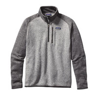 Patagonia Men's Better Sweater 1/4 Zip Fleece- Nickel with Forge Grey