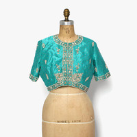 Vintage 60s Indian Silk Top / 1960s Metallic Gold Embroidered Teal Cropped Blouse Jacket