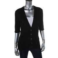 August Silk Womens Knit Elbow Sleeves Cardigan Sweater
