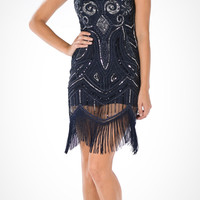 1920's Sleeveless Beaded Knee Length Gatsby Dress Flapper Navy Blue