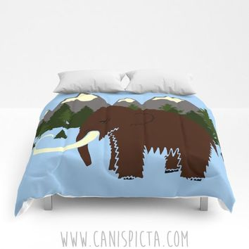 Woolly Mammoth Mountain Forest Bedding Comforter Bed Twin XL Full KING QUEEN Bedroom Decor Wildlife Nature Green Prehistoric Elephant Blue