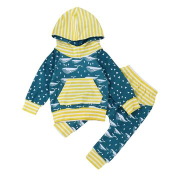 Baby girls clothes long sleeve Newborn Infant Baby Boy Cartoon Striped Hoodie Tops Pants Outfits Clothes baby Set drop ship