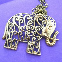 Elephant Large Animal Pendant Necklace in Bronze with Floral Details