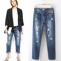 Slim Handcrafts Ripped Holes Pants Casual Jeans [4919027332]