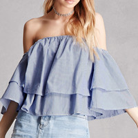 Mebon Pinstriped Off-the-Shoulder Top
