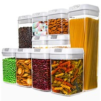 Numyton Airtight Food Storage Containers, Cereal Containers 10-Piece Set with Easy Lock Lids BPA-free Plastic for Kitchen Pantry Storage and Organization Multiple Combination of 10 white