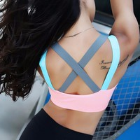 2017 Womens Yoga Bras Cross Push Up Shockproof Sports Bra Gym Running Padded Bras Athletic Vest Sportswear Underwear Sportswear