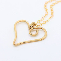 Gold Heart necklace 14/20 yellow gold filled swirly whimsical heart, handmade anniversary gift for her